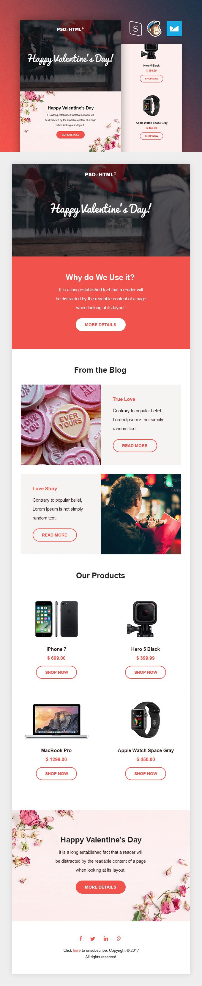 Valentine\'s day email template: free download | Coding | Pinterest ...