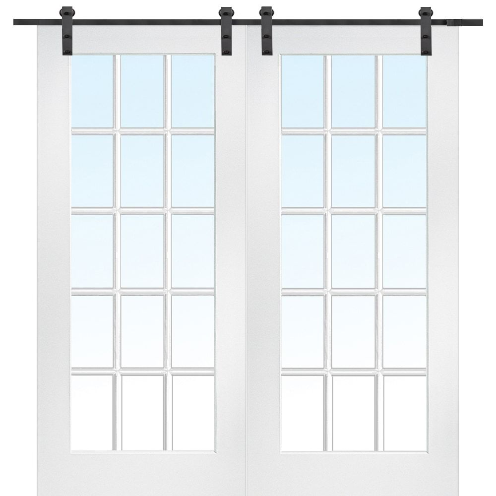 French Double Barn Door With Hardware Kit Mdf 60x80 Primed