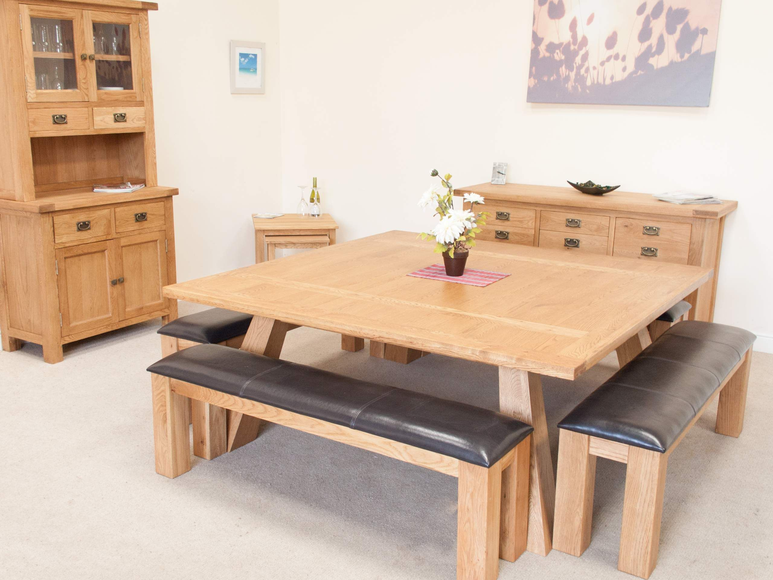 Large 180cm 8 To 10 Seater Square Oak Dining Table