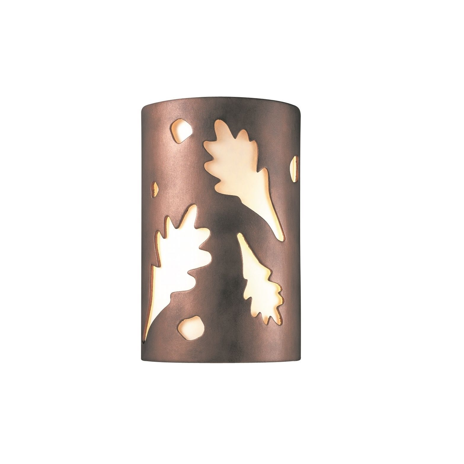 Justice Design Group Ambiance Ada Antique Copper Outdoor Small Oak Leaves Wall Sconce