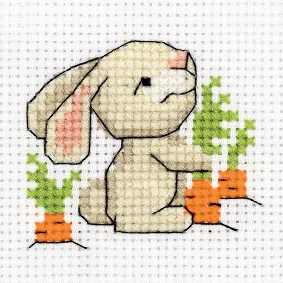 Photo of Klart Counted Cross Stitch Kit – Rabbit Pulling Up Carrots – 11 Ct Aida(8-341)