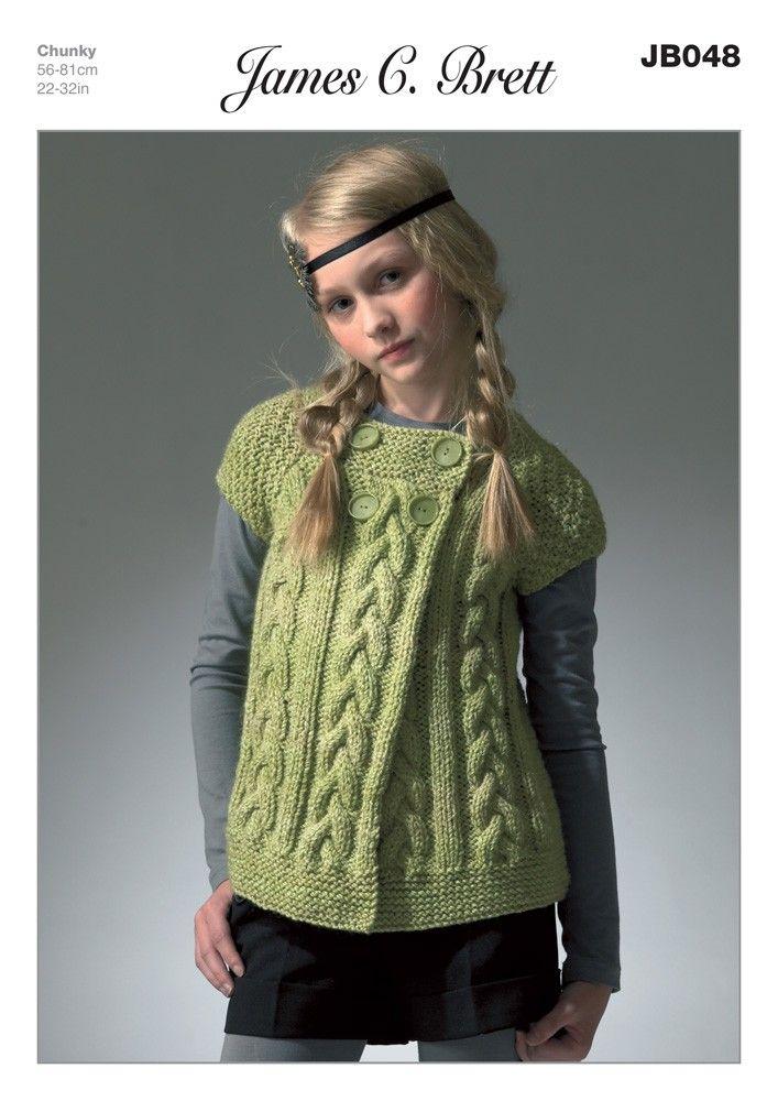 Girls Cardigan In James C Brett Marble Chunky Jb048 Knitting