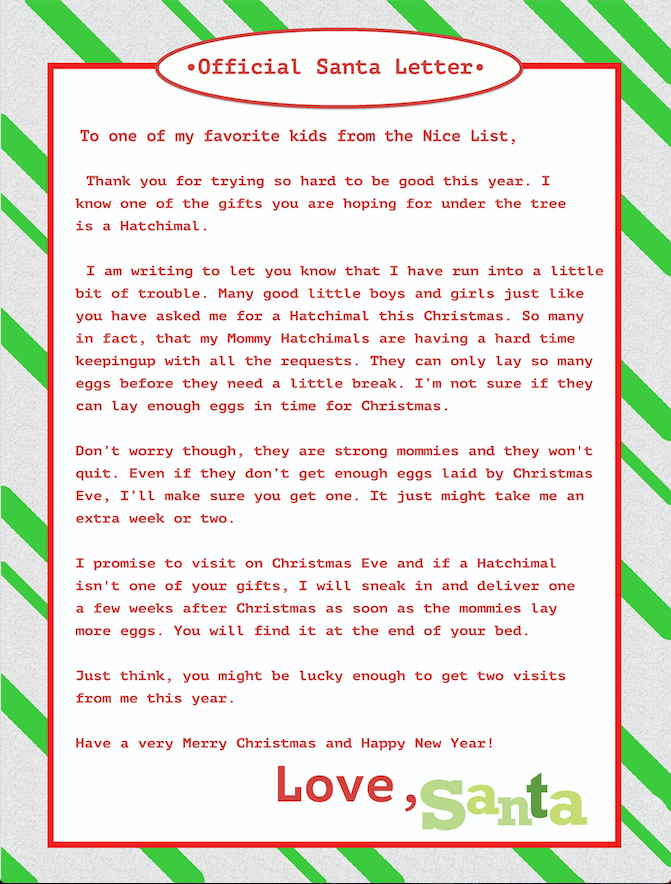 Cant find a hatchimal printable letters christmas morning and avoid christmas morning tears or spending 300 on one toy with this free printable letter spiritdancerdesigns Images