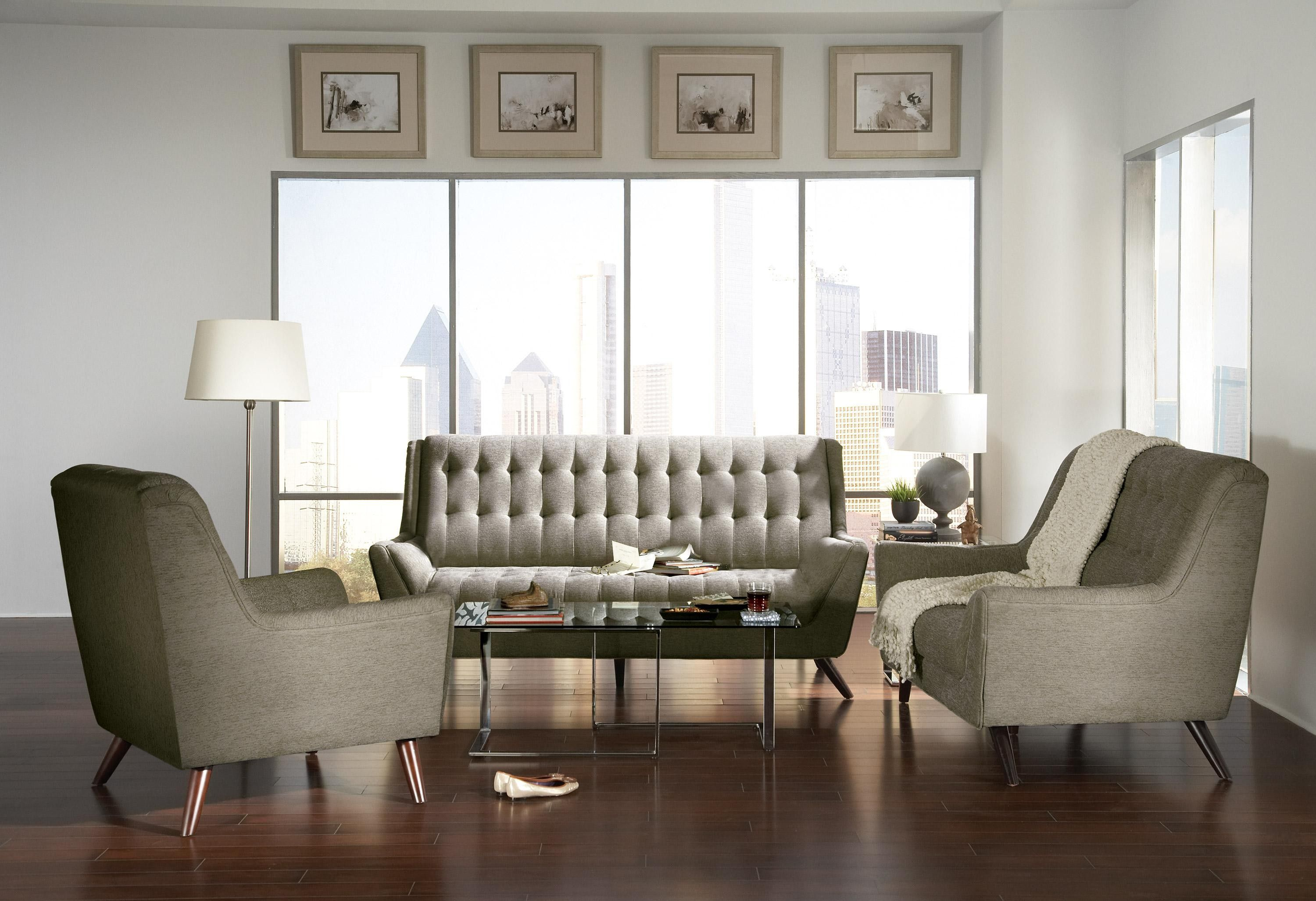 Coaster 3 Pieces Natalia Grey Retro Living Room Sofa Set