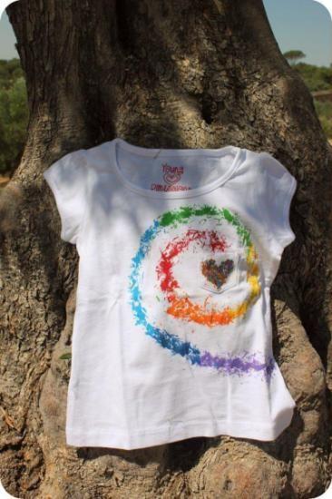 Camiseta infantil pintada a mano plastidecor estampado - Dibujos para pintar en tela infantiles ...