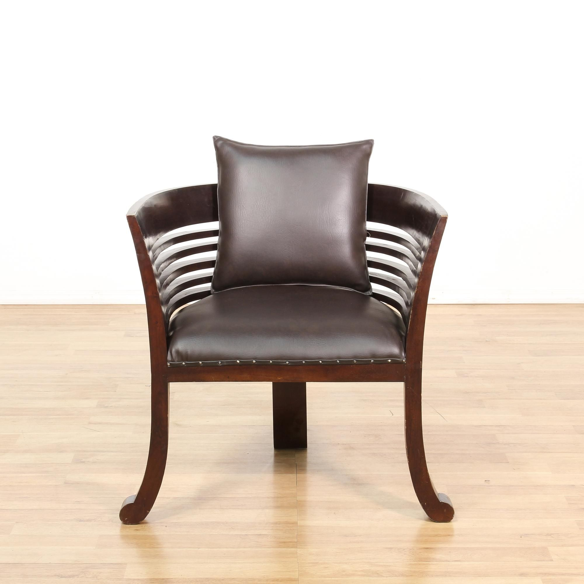 Best This Barrel Chair Is Featured In A Solid Wood With A Dark 400 x 300