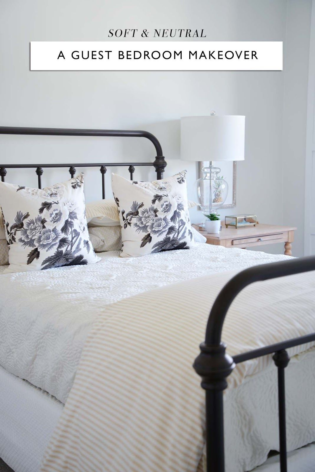 Before After A Soft And Neutral Guest Bedroom Rambling Renovators Neutral Guest Bedroom Bedroom Makeover Before And After Guest Bedroom Neutral spare bedroom ideas
