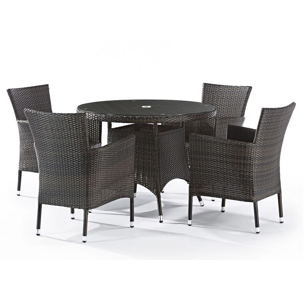 4 Seat Outdoor Dining Set Brown Rattan Round Table Cushion Lawn