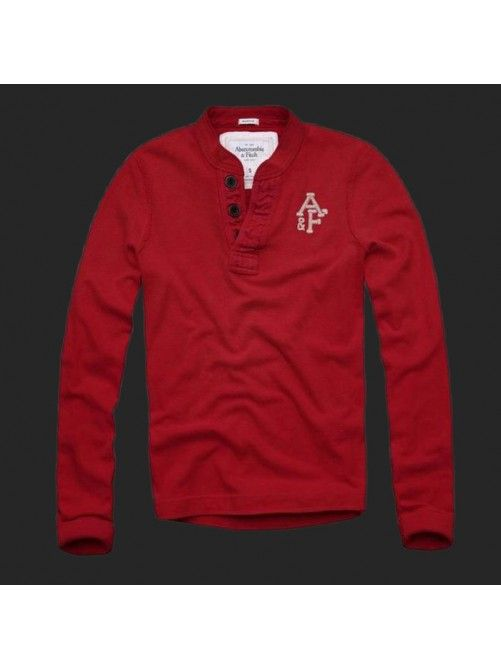 Abercrombie Fitch Mens Long Sleeve T-shirts Red1