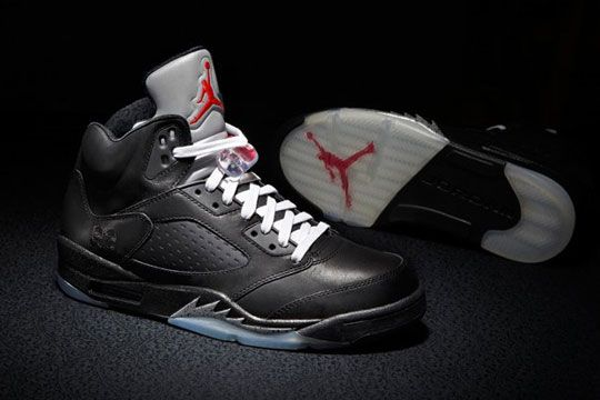 Mens Air Jordan 5 V) Retro Premio Shoe Black Red shoes