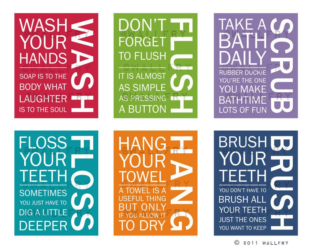Photo of FULL SET of 6 Bathroom art prints. Bathroom Rules. Kids bathroom wall quotes. Wash Brush Floss Flush. Typography. Prints by WallFry