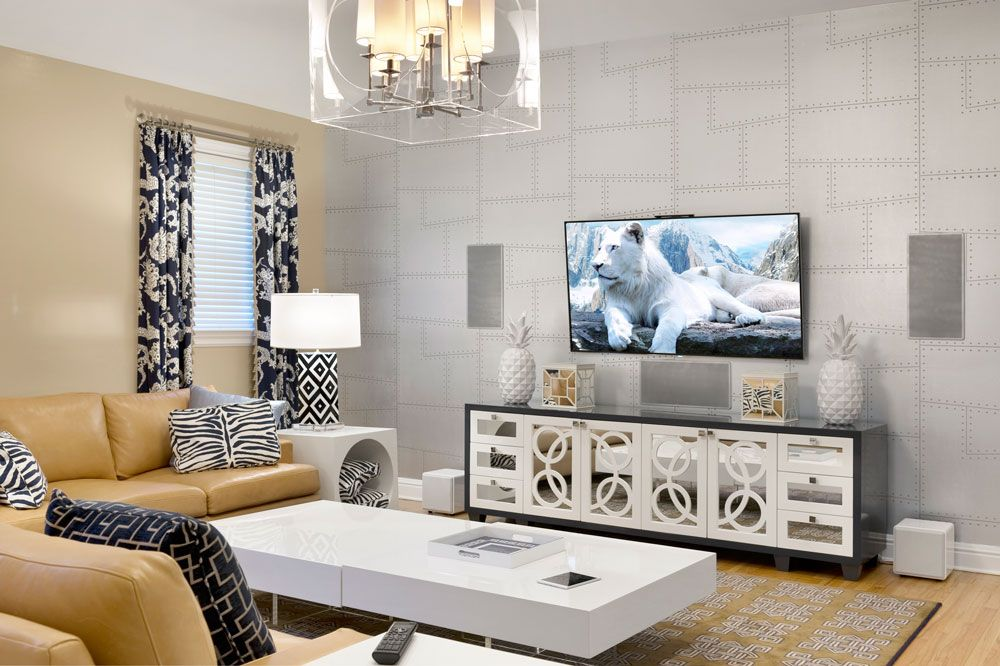 Media Room With 3d Tv And Surround Sound In Wall And In Ceiling Speakers Integrated Control