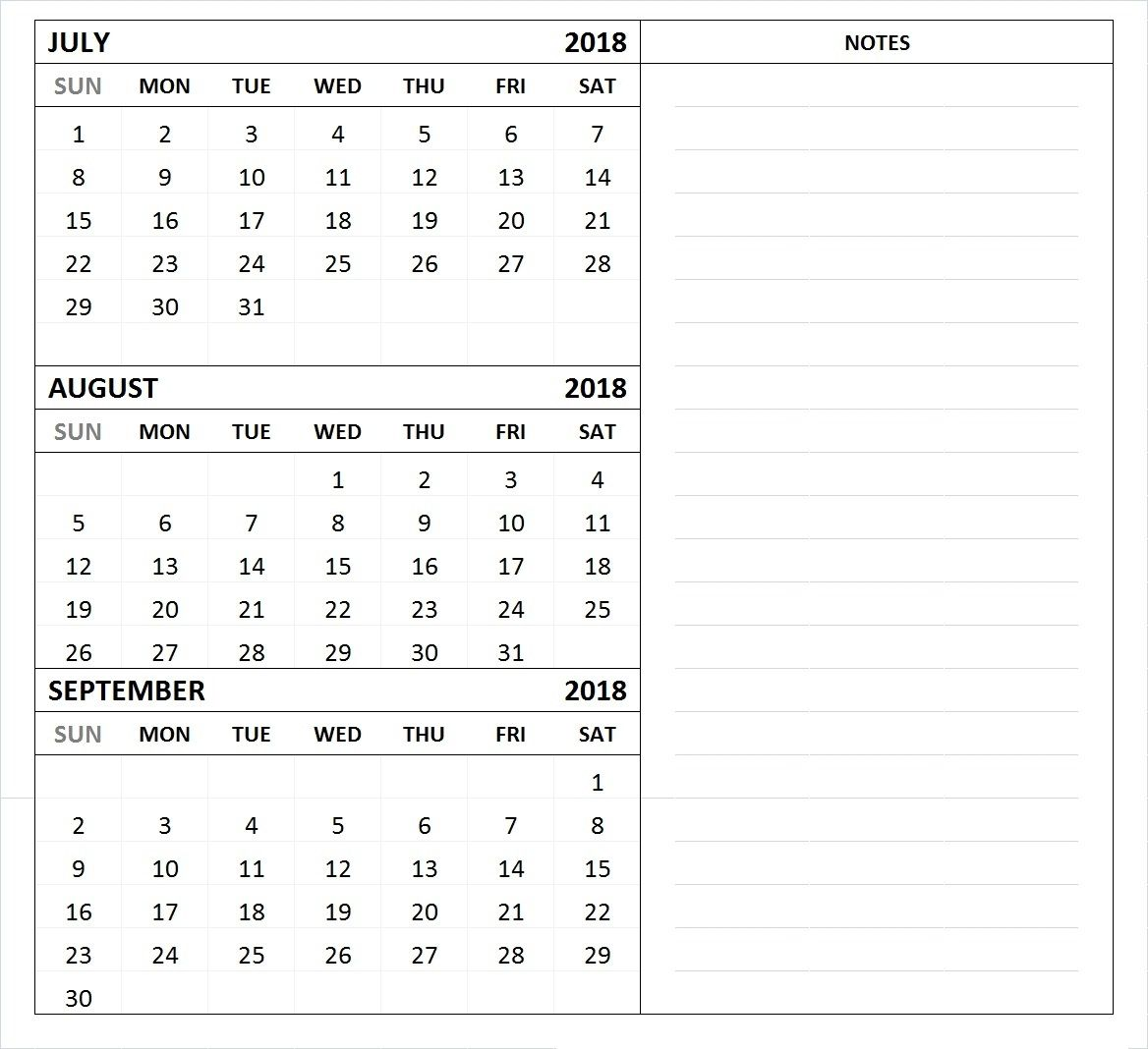 july august september 2018 calendar template 3 month calendar