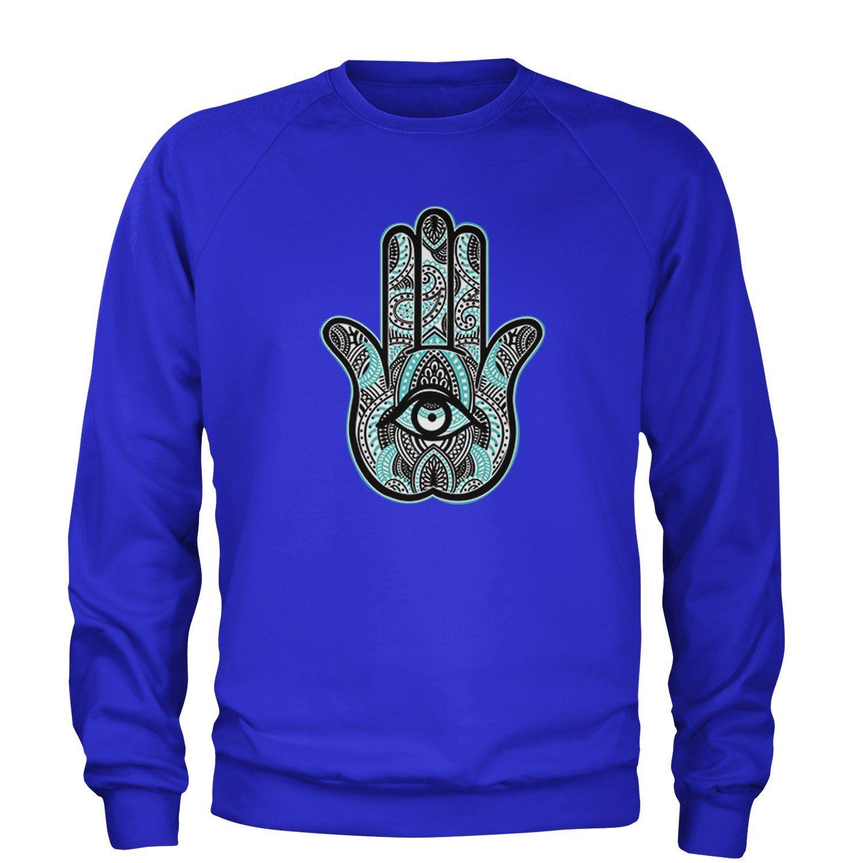 Henna Hamsa Hand Of The Goddess Adult Crewneck Sweatshirt - Crewneck X-Large / Royal Blue