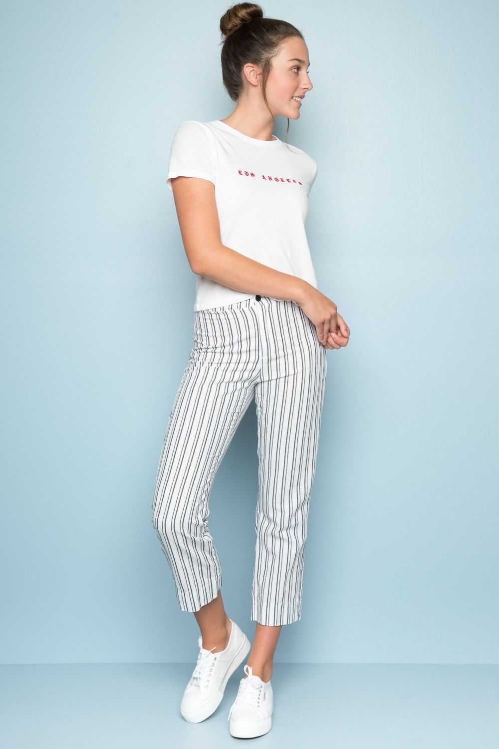 New brandy melville blue//white striped high rise tilden pants NWT sz S//M