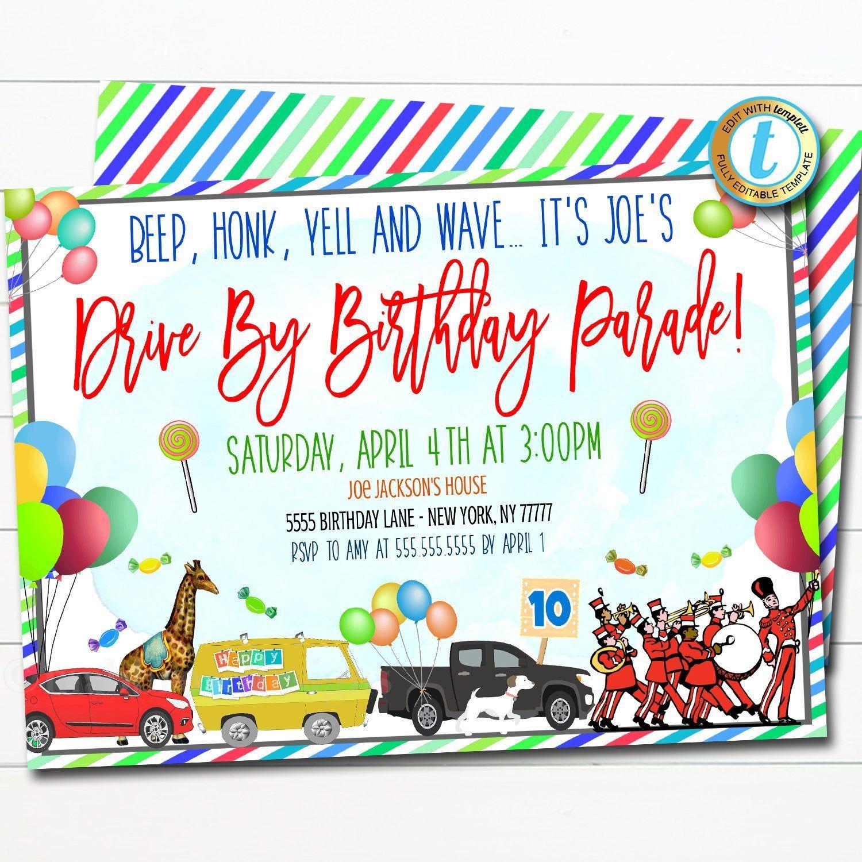 Drive By Birthday Parade Invitation, Virtual Birthday