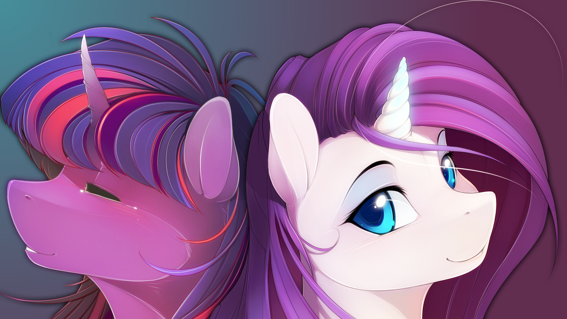#334015 - artist:antiander, artist:shawnyall, lesbian, portrait, rarilight, rarity, safe, shipping, twilight sparkle, wallpaper - Derpibooru - My Little Pony: Friendship is Magic Imageboard