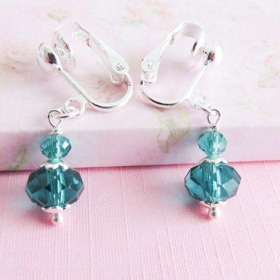 Teal clip on earrings flower girl gift teal wedding jewelry kids