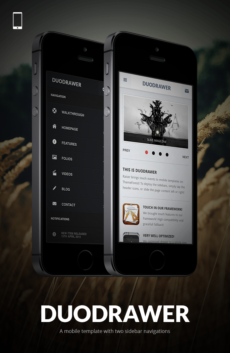 DuoDrawer Mobile Kit Mobile template, Colored