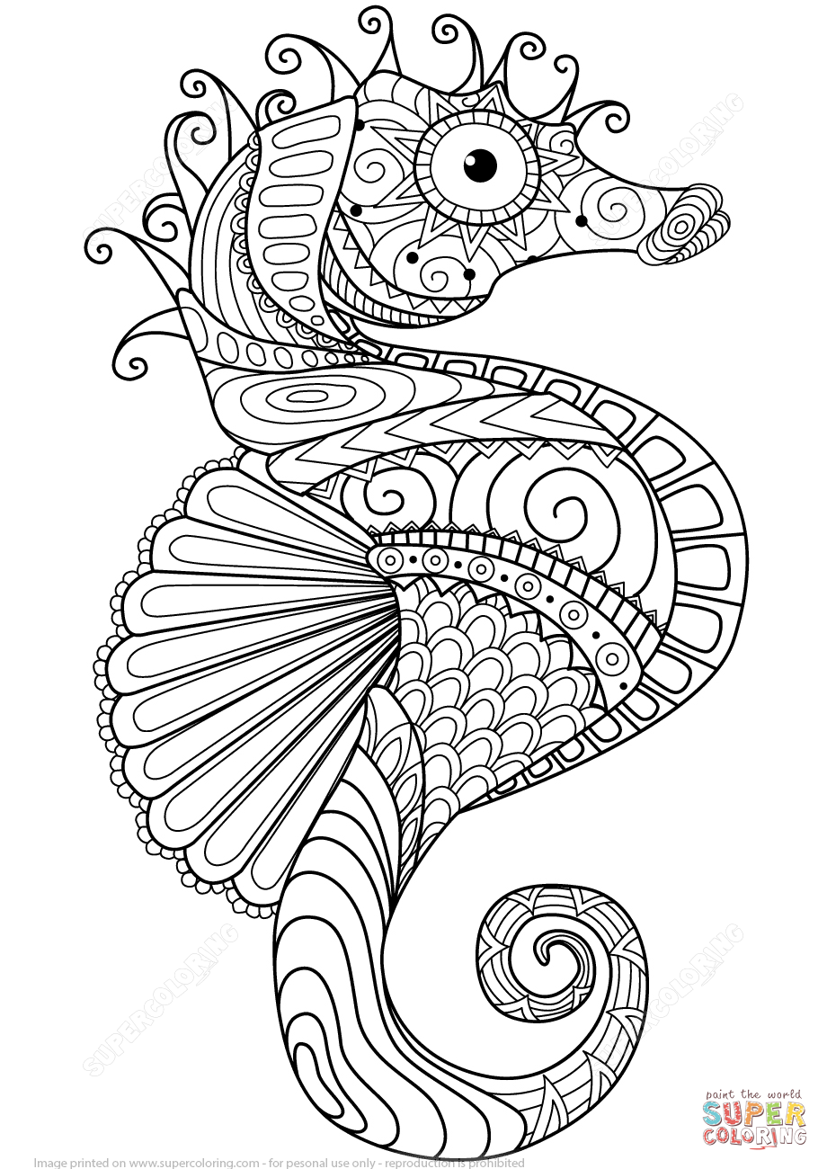 sea horse zentangle coloring page from zentangle category select from 24873 printable crafts of cartoons nature animals bible and many more - Zentangle Coloring Pages