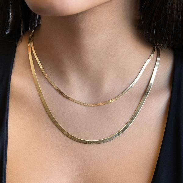 Herringbone Necklace In 2021 Chain Choker Gold Chain Choker Chain Necklace