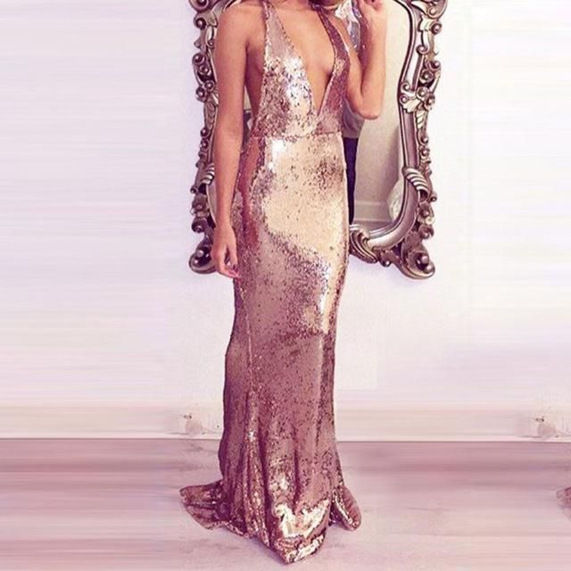 NEW YEARS EVE GATSBY 1920\'S MARILYN Deep V Neck Sequin Gown Mermaid ...
