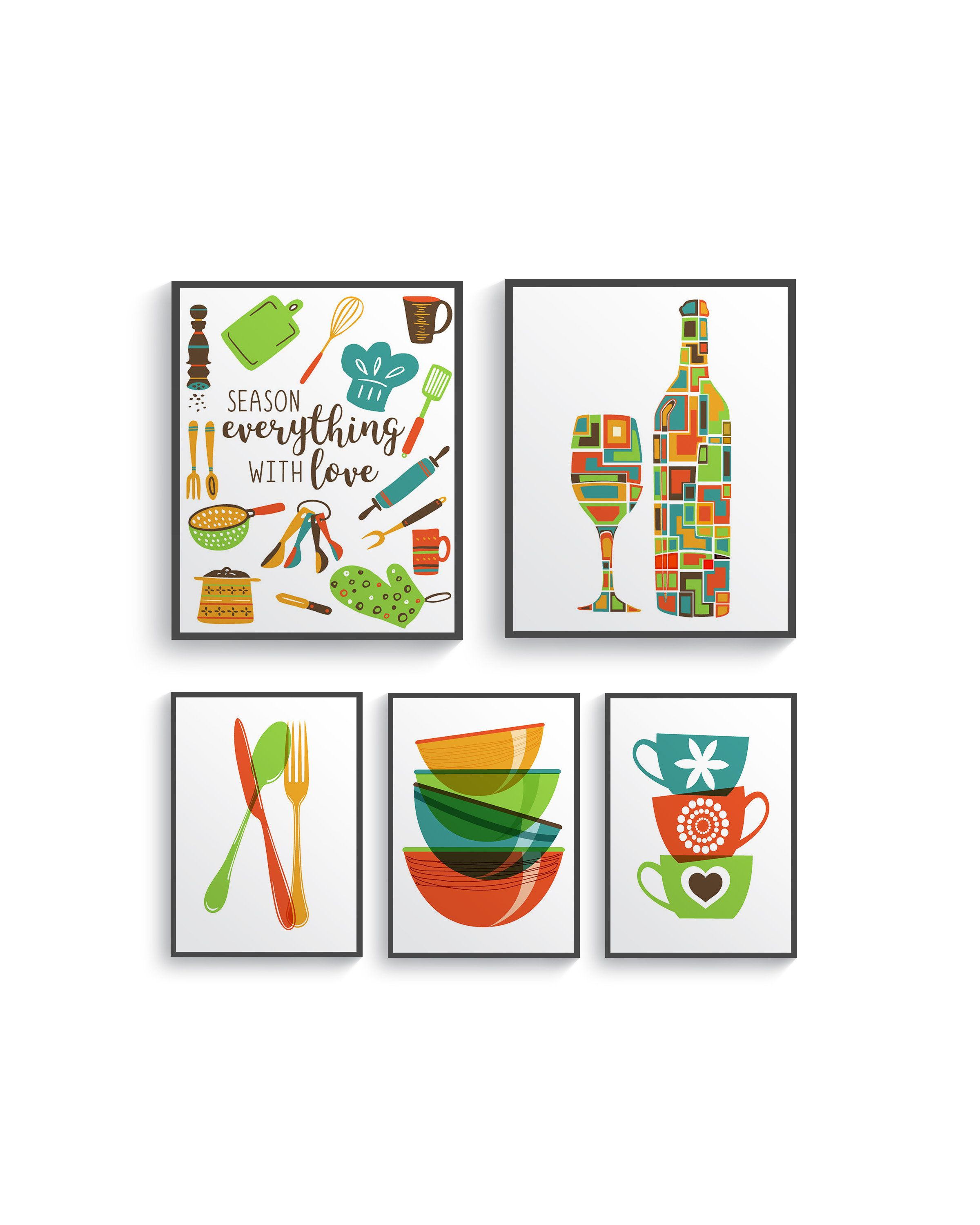 5 Set Modern Colorful Kitchen Decor Print Set Kitchen Wall Etsy Colorful Kitchen Decor Kitchen Colors Kitchen Wall Art