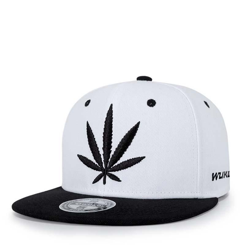554f2ee58b4 Embroidered Hemp Leaf Hip-Hop Style Snapback Hat