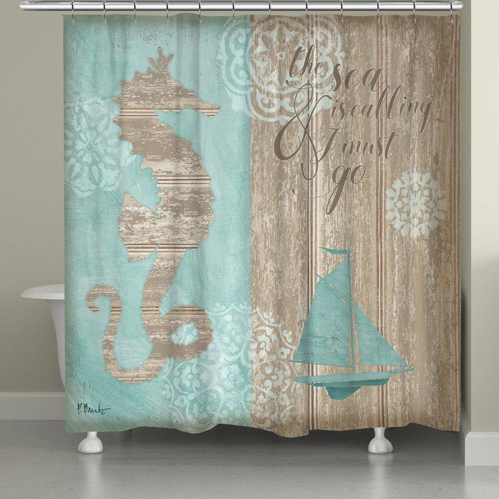 Turn Your Bathroom Into A Coastal Escape With The Beach Boardwalk Shower Curtain Featuring Quote Sea Is Calling And I Must Go