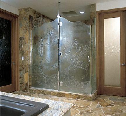 Open Shower Designs Without Doors Framed Sculptured Glass Shower