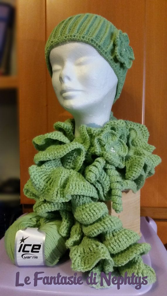 Crochet Ruffle Scarf with Flower and optional Headband / Earwarmer