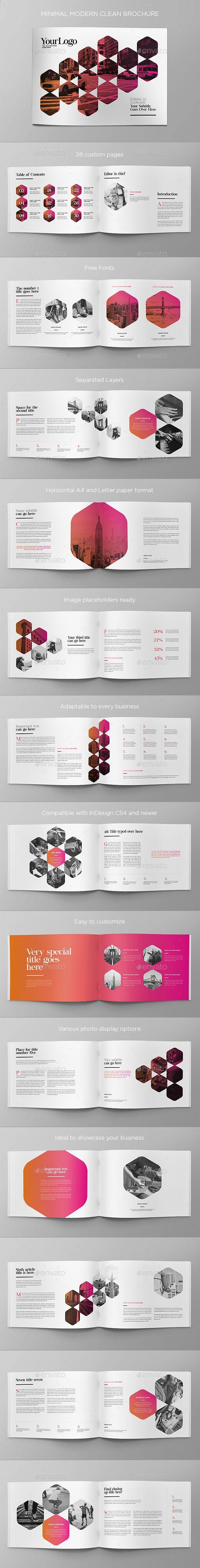 Minimal Modern Clean Brochure | Diseño editorial, Editorial y Revistas