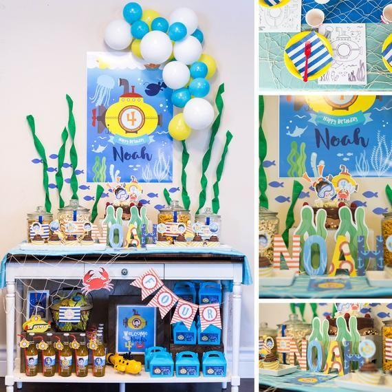 Digital Files Yellow Submarine Decorations Submarine Birthday