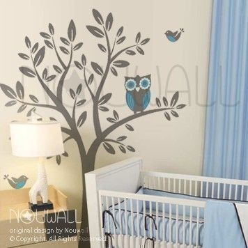 Owl On Tree Wall Decal Vinyl Sticker Nursery Wall Decal - Baby boy nursery wall decals