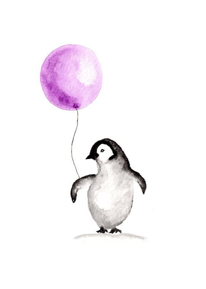 ▷ 1001 + nice pictures to paint and video instructions -  Paint animals yourself, penguin holds p