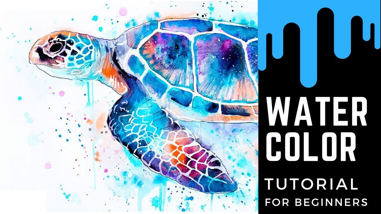 Watercolor Painting Wet On Dry Watercolor Painting Sea Turtle