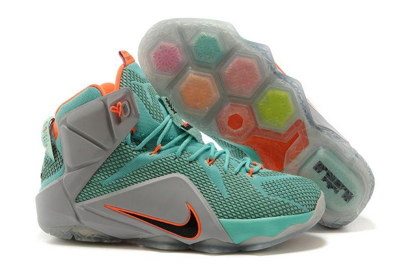 Cheap Nike LeBron 12 P.S Elite NSRL Green Gray Orange Shoes on sale