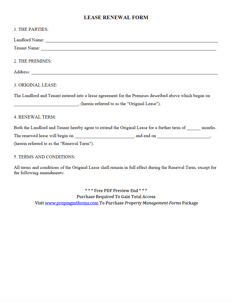 lease renewal form pdf property management forms pinterest