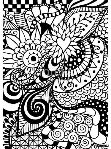 Zentangle Coloring Page Floral Retro With Images Zentangle