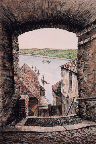 FAMAG 2003.3 | Damant, E. (fl.1946): Barracks Ope, Falmouth, signed and dated 1946, ink and watercolour, 37.7 x 28.3 cms. Presented by Dr My...