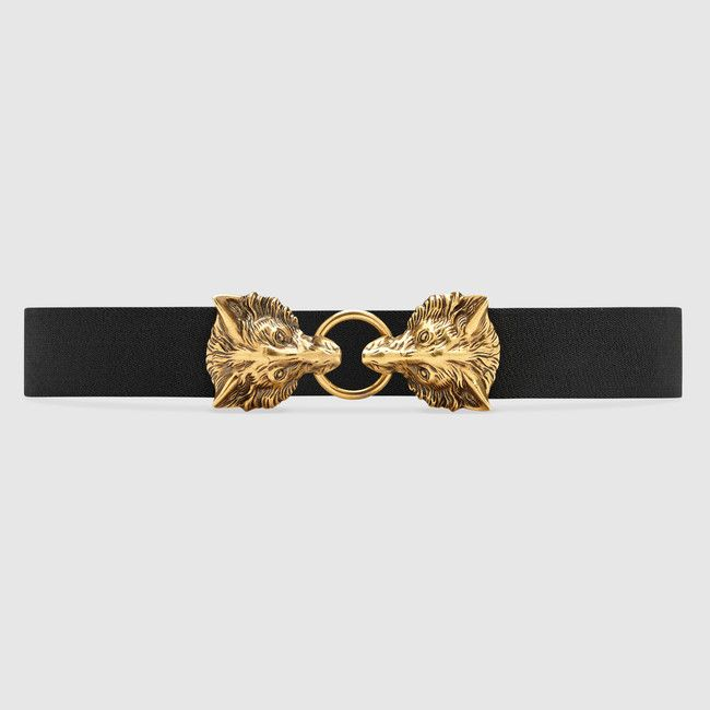 46bdae870 Elastic belt with double wolf heads | accessories | Belt, Gucci ...
