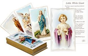 These little portable objects of faith have comforted, consoled and encouraged believers throughout the centuries. They're carried for protection, given as remembrances, traded and collected. Each card in this collection features the familiar and beloved art of our faith on the front, and a prayer on the reverse. Set of 100 cards is comprised of 50 pairs, encouraging children to trade cards, or gift them away!
