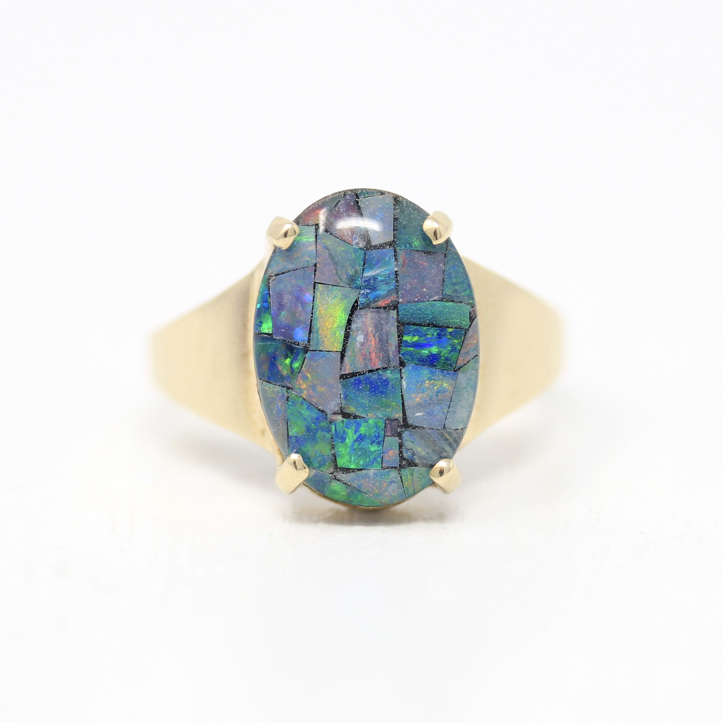 Mosaic Opal Triplet Ring Estate 10k Yellow Gold Oval October Birthstone Statement Vintage Size 6 1 4 Colorful Gem Unique Fine Jewelry In 2020 October Birth Stone Antique Rings Vintage Jewelry