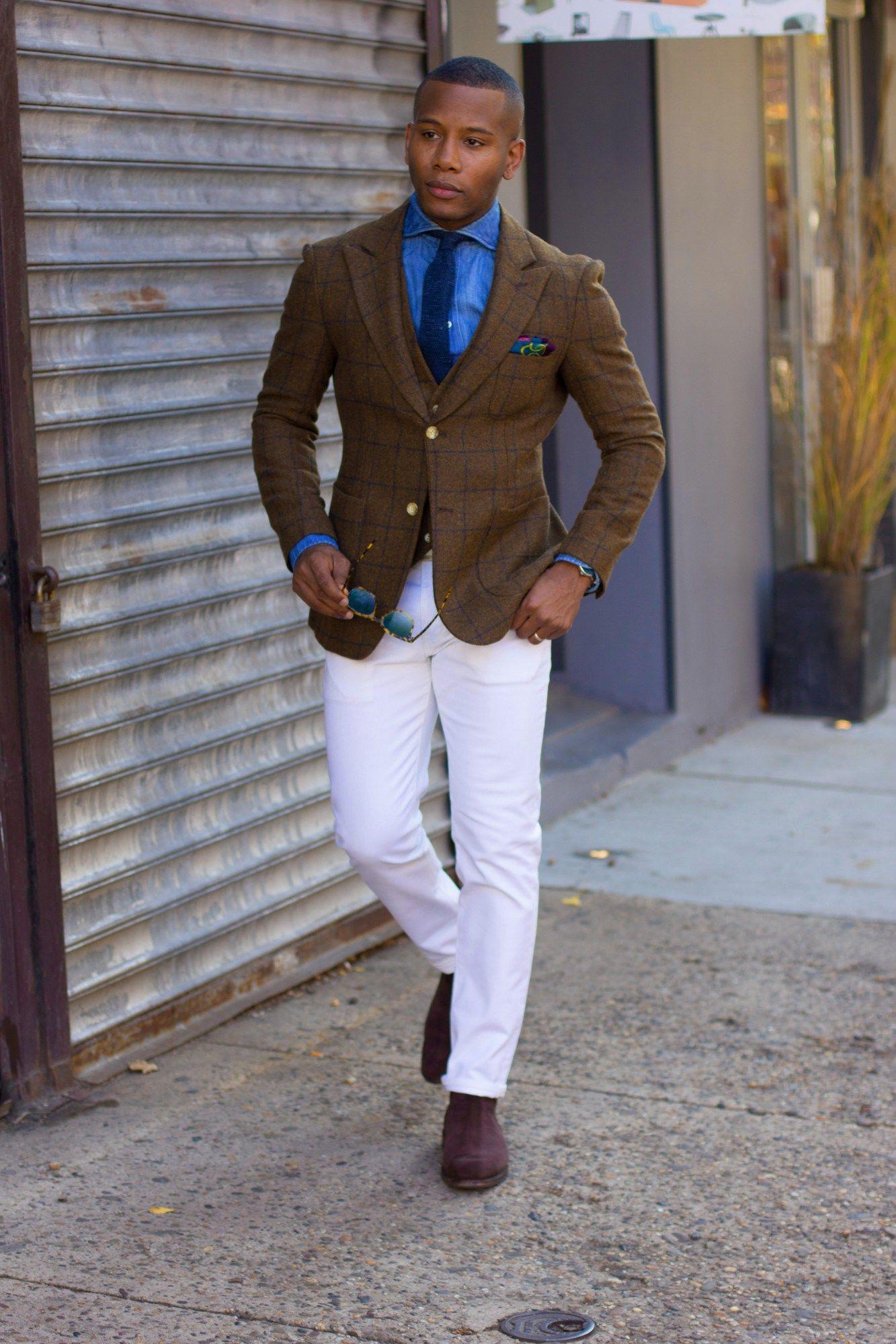 Brown windowpane blazer + knit tie + chambray button up