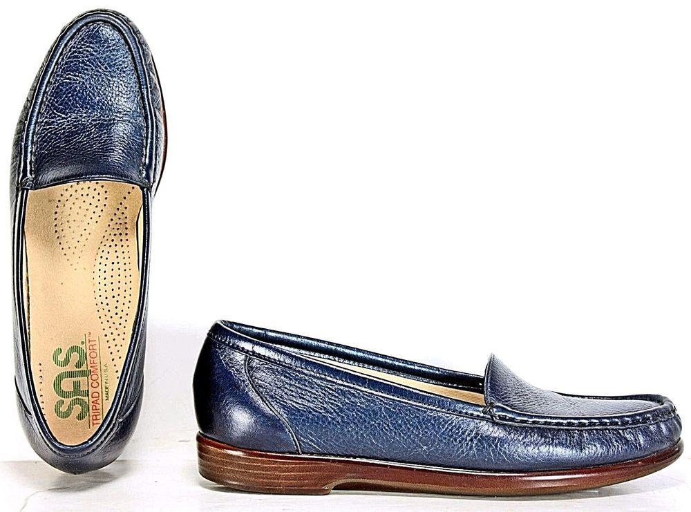 Sas Shoes Blue Moccasins Comfort Leather 7.5 S Comfort Shoes