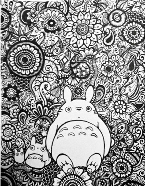 Totoro Floral Design | coloring for Adults and more 1 ...