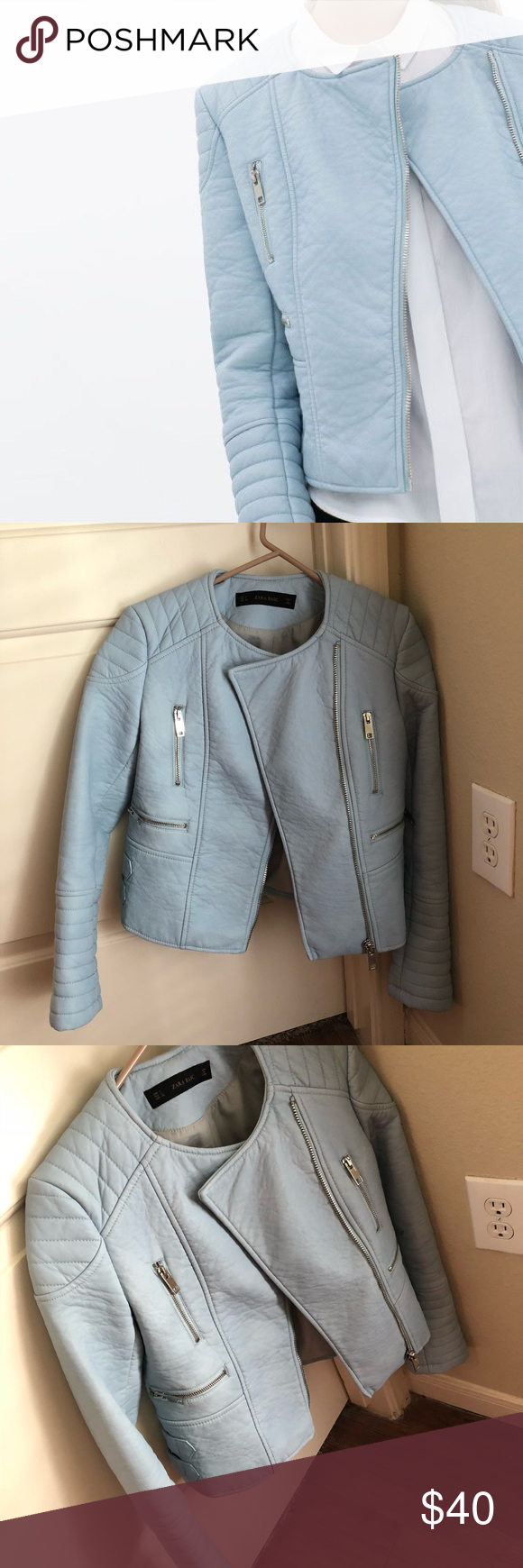Zara faux leather jacket faux leather jackets baby blue colour