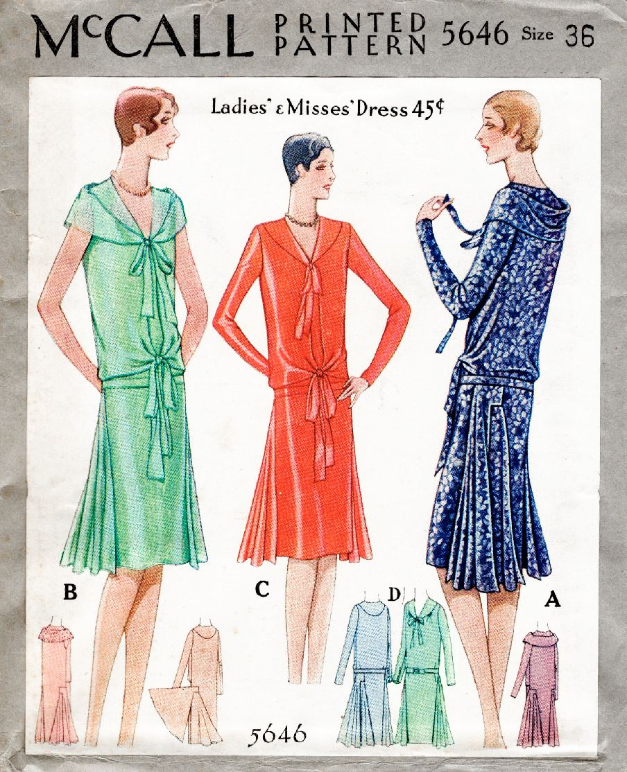 McCall 5646 1920s 1929 Lucien Lelong flapper dress vintage sewing ...