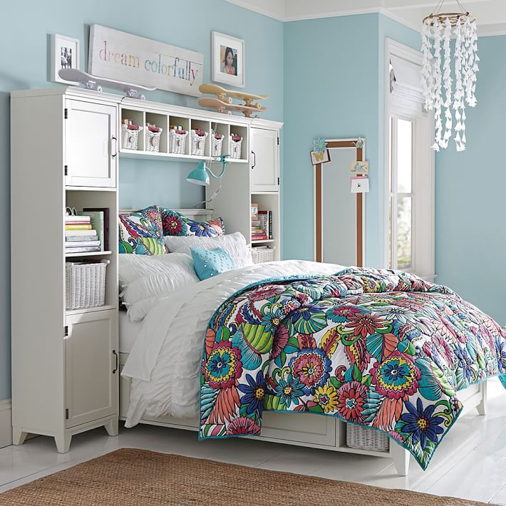 Hampton Storage Bed Bookcase Tower Set Teen Bedroom