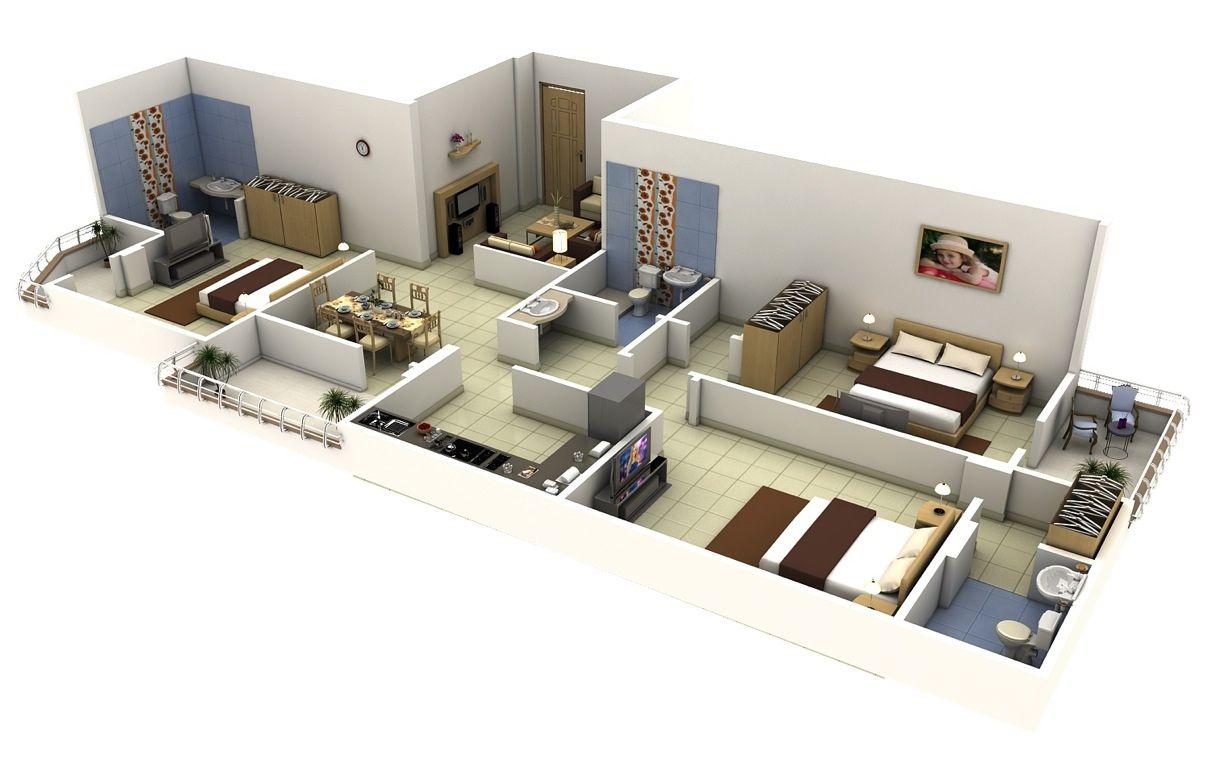 Planos de departamentos de 3 habitaciones mi casa for Construye tu casa en 3d